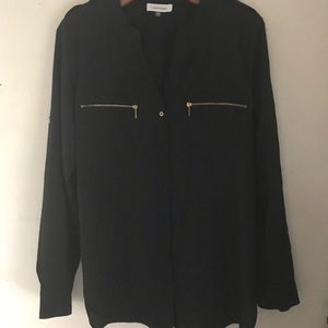 Calvin Klein Black Button Down Blouse